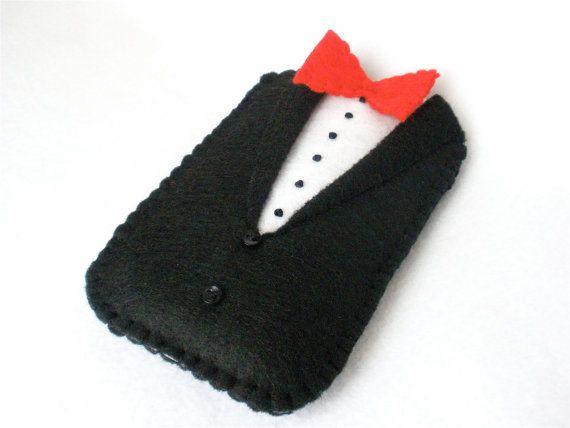 Felt Iphone Case Black Tuxedo Father's Day by HeartStringsHandmade, $14.00