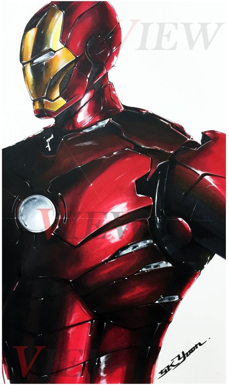 Ironman marker rendering    Copic marker, plus-pen, color pencil, poster color to use