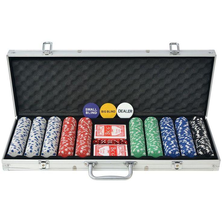 Aluminium Poker Set Casino Playing 500 Pieces Chips Dice Deck Cards Case Laser #AluminiumPokerSet