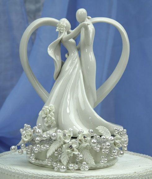 Glass Vintage Wedding Cake Toppers | Vintage Rose Pearl and Heart Wedding Cake Topper - Wedding ...