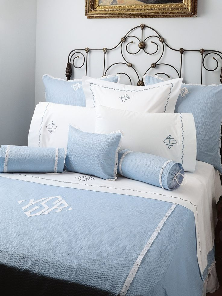Scallops - Luxury Bed Sheets - Old fashioned sheets, pillowcases, shams and duvet covers are traditionally scalloped in White, Ivory, Cloud Blue, Petal Blush, and Willow on Snowy White