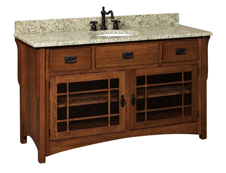 "Amish 60"" Lancaster Mission Single Bathroom Vanity Cabinet"