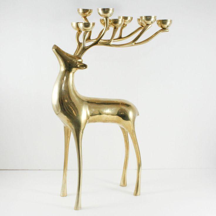 Vintage Brass Reindeer Floor Candelabra Candle Holder