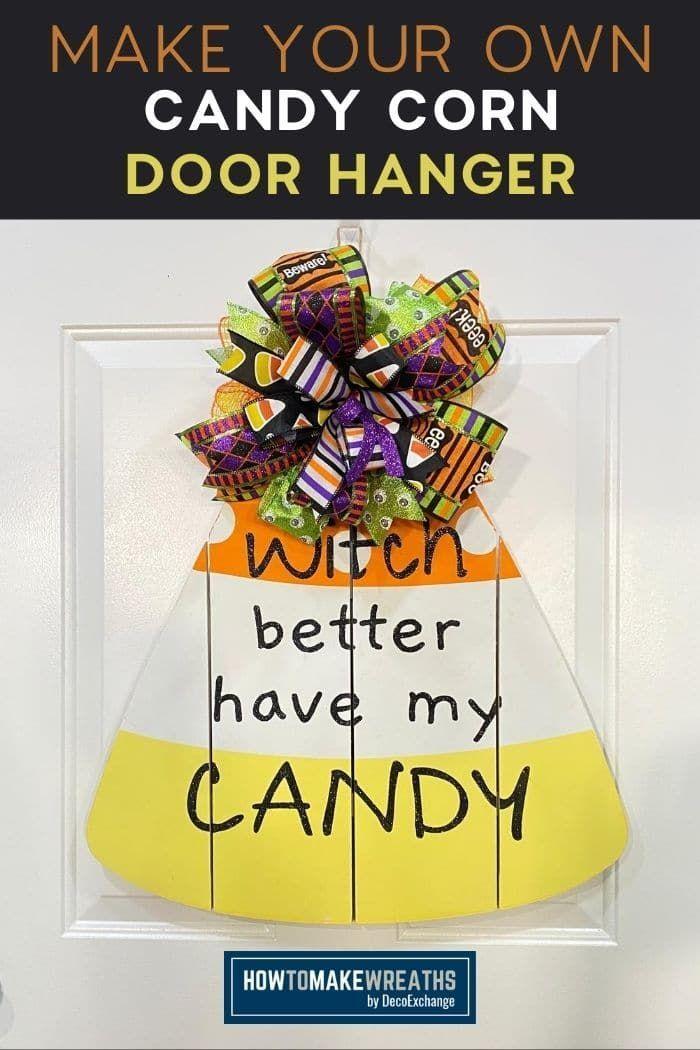 Make Your Own Candy Corn Door Hanger Door Hangers Boho Wall Decor Diy Pumpkin Door Hanger