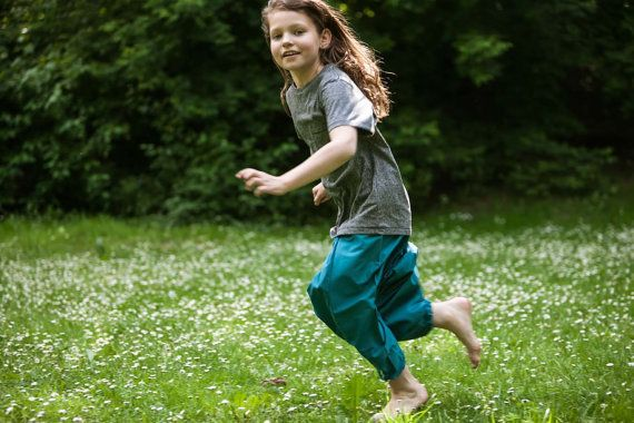 Harem trousers for kids. Turquoise cotton one size by SISSorganic