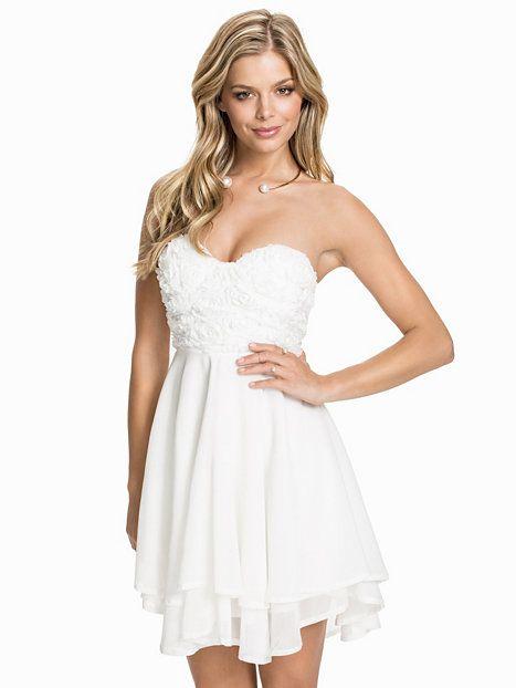 3D Rose Detailed Bandeau Dress