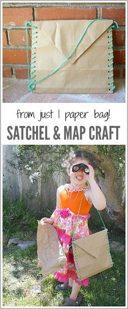 Satchel and Map for a Treasure Hunt made from a brown paper bag! Perfect for pretend play and a fun craft for kids! ~ BuggyandBuddy.com