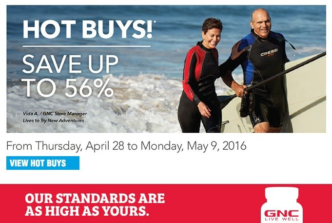 Save up to 56% April 28 - May 9, 2016 GNC.ca promotions at GNC #supplements #vitamins #protein #fitness #health