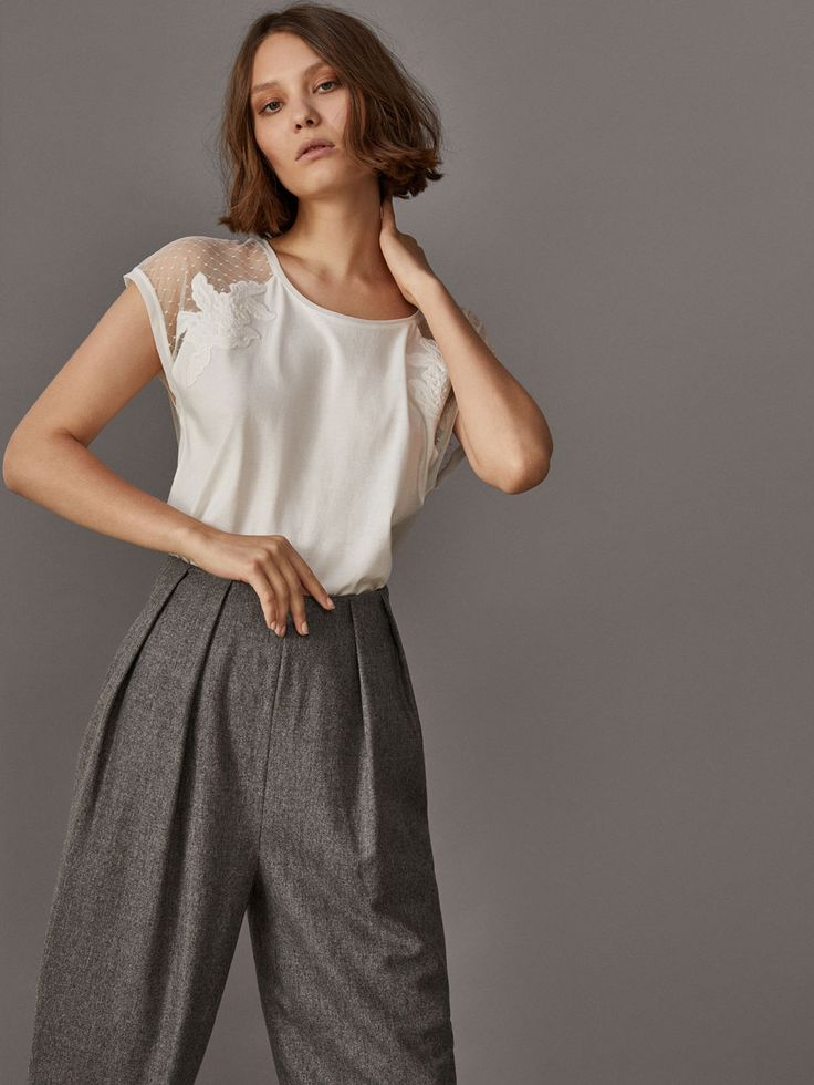 Fall Winter 2017 Women´s T-SHIRT WITH EMBROIDERED SHOULDERS at Massimo Dutti for 39.5. Effortless elegance!