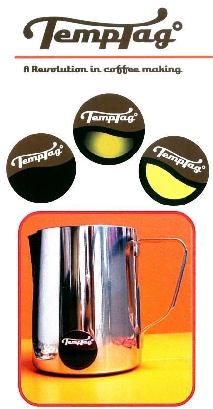 Temptag is a sticker designed to give an instant indication when milk is at its optimum serving temperature for preparing milk-based coffees.
