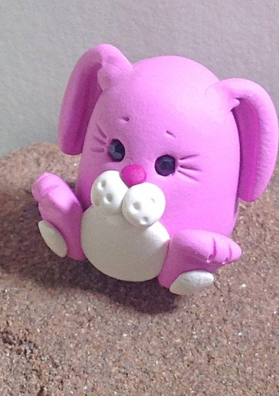 Polymer Clay Pink Bunny Animal Miniature  by ClassonCreations