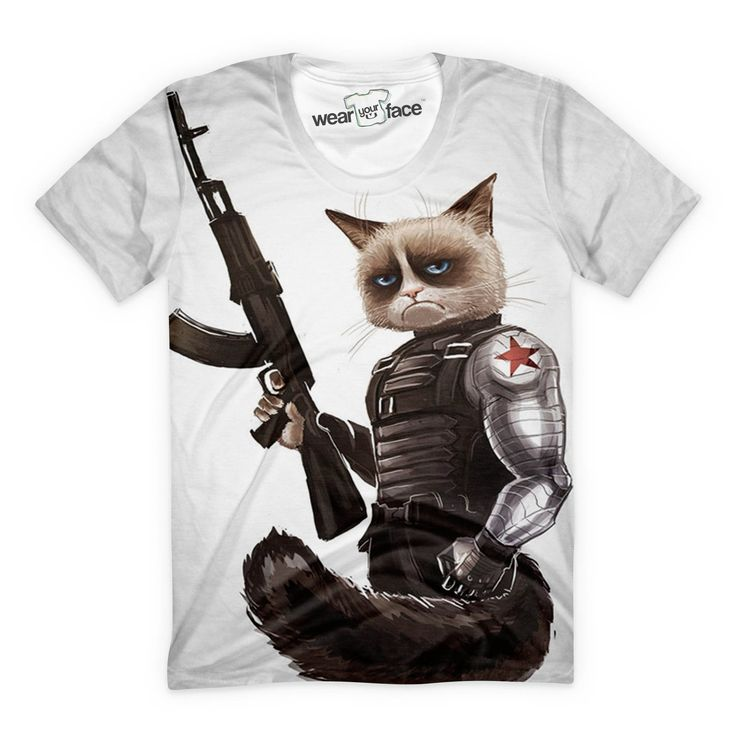 Join the federation by picking up your Grumpy Cat soldier tee. Oorah! This all-over-print t-shirt is a #mustbuy. This is a made to order product, using premium cut and sew technology. Please give us 1