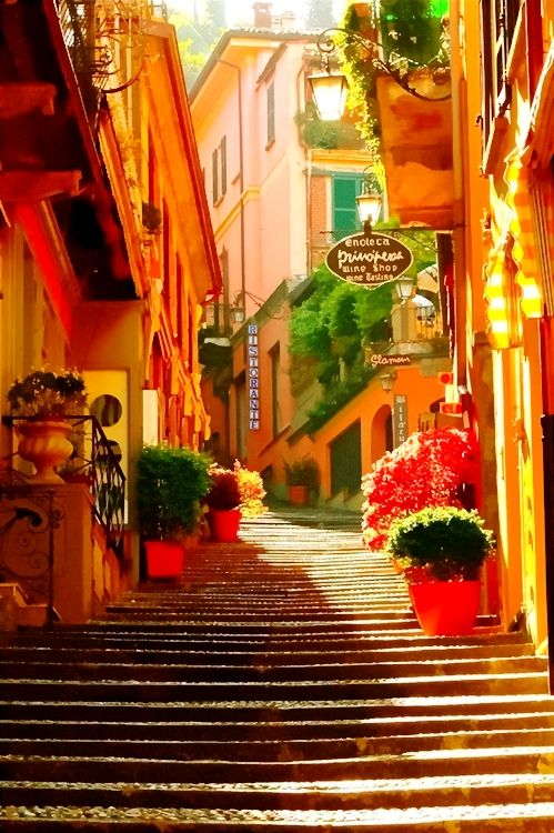 Stairway, Bellagio, Lake Como, Italy.  Going back some day. One of the most beautiful places on earth.