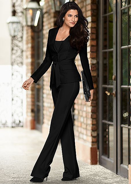 Belted Pant Suit Set Outfit Inspiration Funeral Attire