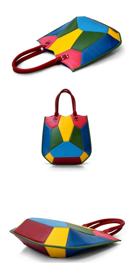 Conceptual colorful women's bag rigid form executed from leather segments. https://www.etsy.com/ru/listing/454900042/womens-colorful-leather-handbag-top?ref=shop_home_active_37  Women's Colorful Leather Handbag | Top Handle Leather Bag | Multicolored Designer Shoulder Bag by Leonid Titow