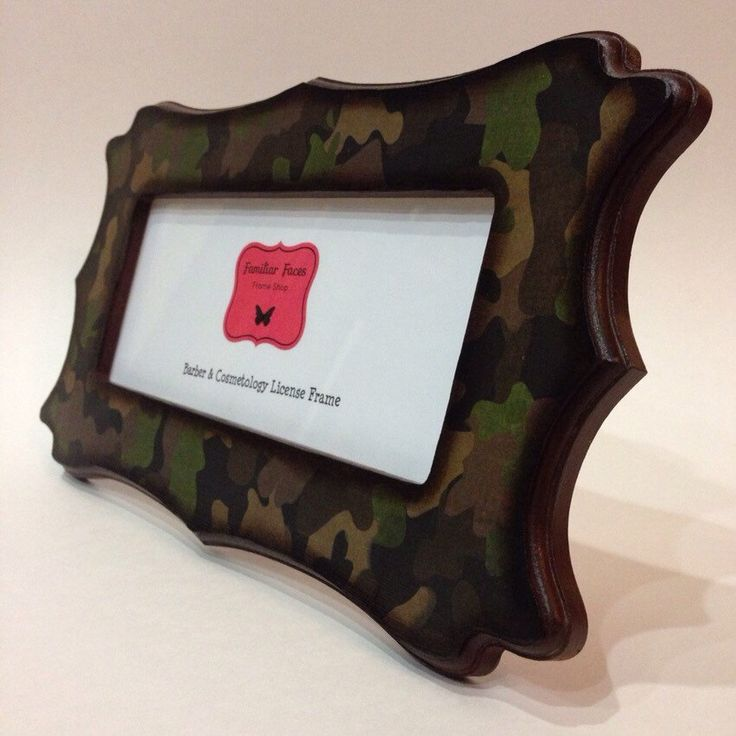 barber cosmetology license frame camouflage camo fits 8 12 x 3 5