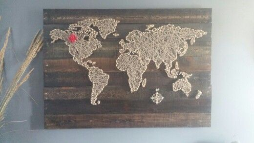 String Art World Map With Canadian Maple Leaf On Canada