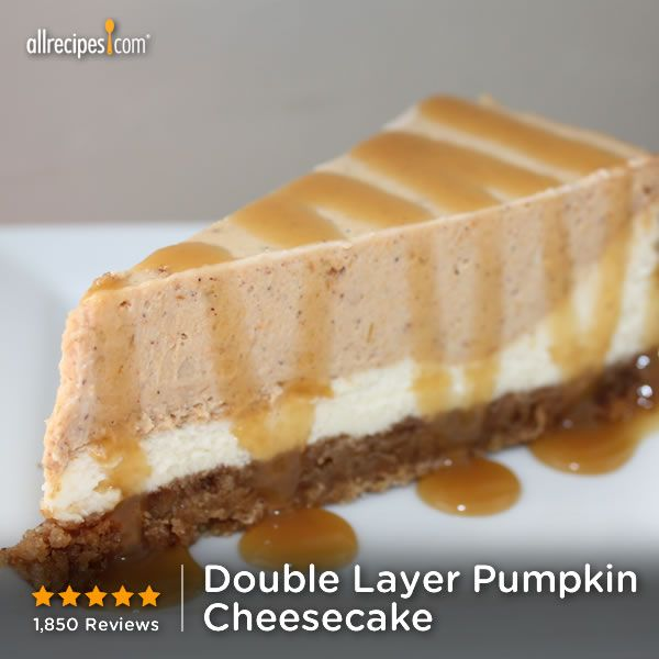 "October 21- National Pumpkin Cheesecake Day! Try Double Layer Pumpkin Cheesecake | ""Delicious! My family has been begging me to make this again."""