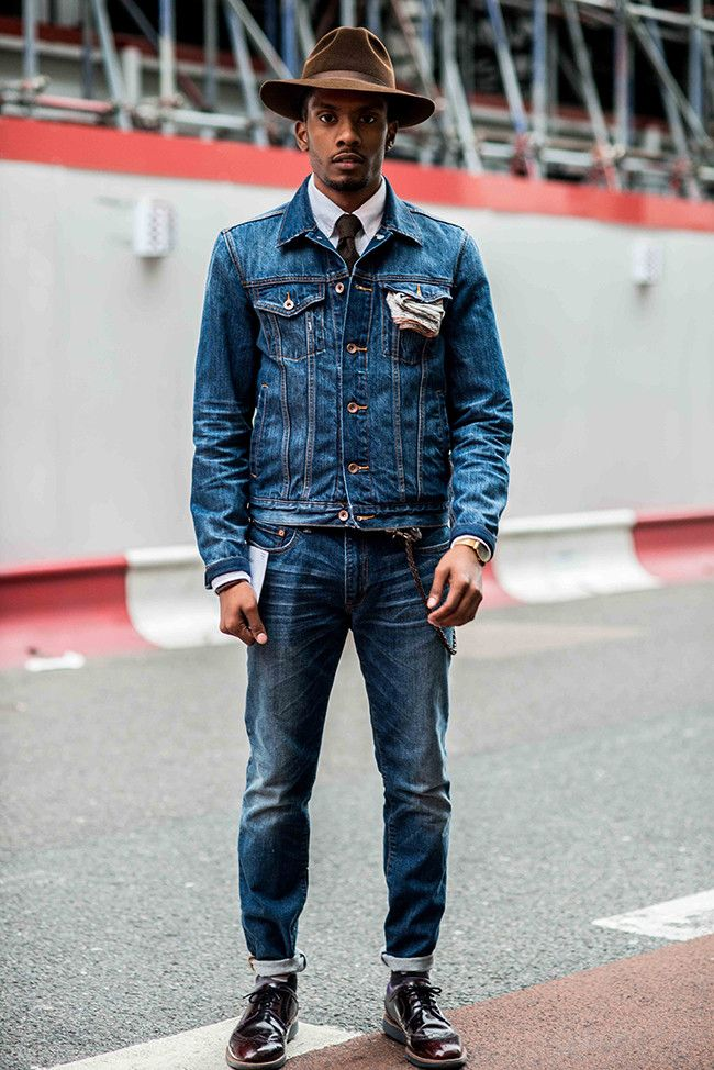 London Collections: Street Style - loving the double denim and strong hat