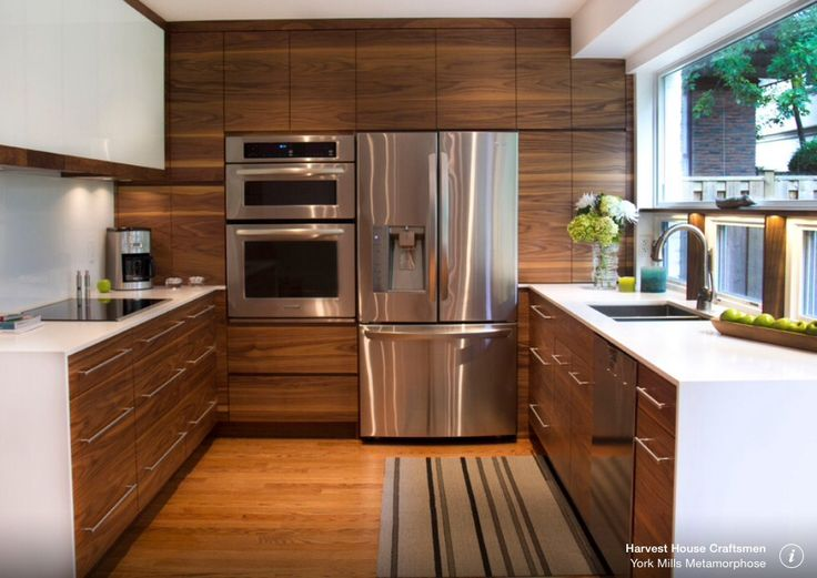 Walnut Wood Kitchen Cupboards Sleek Handles Inset Sink