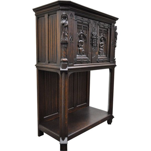 19th Century Belgian Oak Cabinet Richly Carved With Gothic Style... ($3,005)