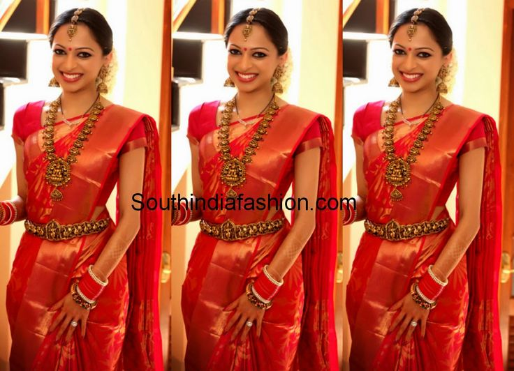 red kanjeevram bridal saree