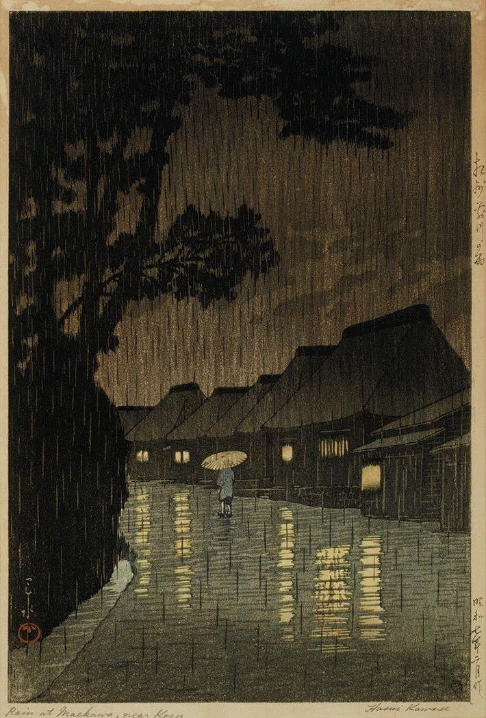 Kawase Hasui Rainy Season At Ryoshimachi Shinagawa From The Series Tokaido Fukei Senshu