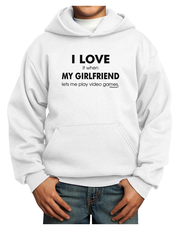 TooLoud I Love My Girlfriend Videogames Youth Hoodie Pullover Sweatshirt