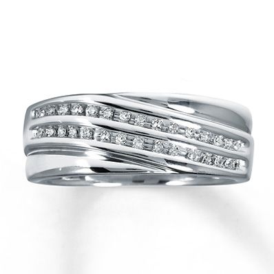 Diamond Wedding Band 1/6 ct tw Round-cut Sterling Silver he likes this one