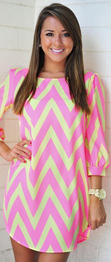 RESTOCK: Cheery For Chevron Dress: Neon Pink #cocktail #neon #dress
