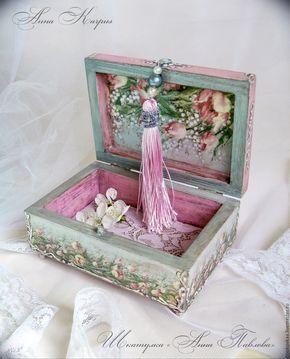 """Купить Шкатулка для украшений """"Анна Павлова"""" - бледно-розовый, декупаж работы, балет, весна, шкатулка"""