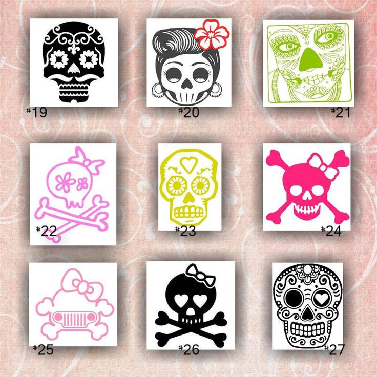 Girly skulls vinyl decals 19 27 vinyl stickers car decal skulls