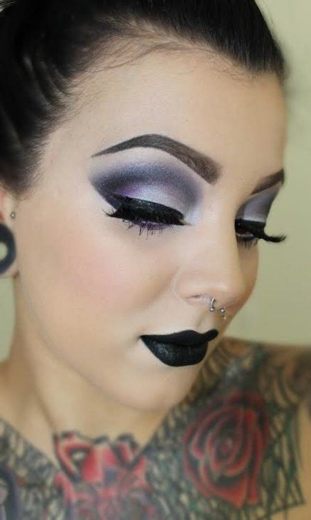 Dark Makeup Look-----LOVE the eye makeup. Not crazy about the black lipstick