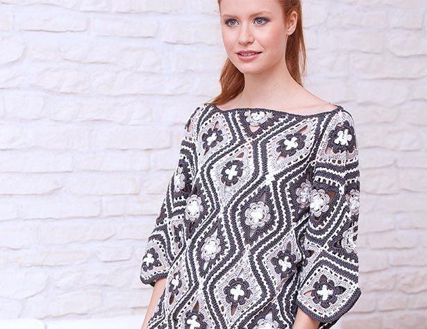 Пуловер из цветочных ромбов - Почта Mail.Ru