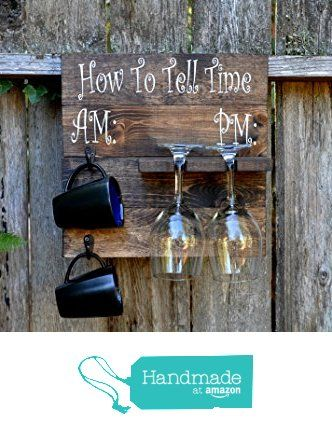 Rustic Pallet Wood Coffee Mug and Wine Glass Holder Combo Rack Wall Mounted from…