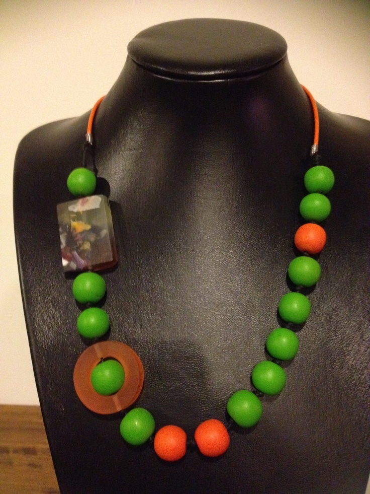 Green, orange and mixed colour resin ncklace.
