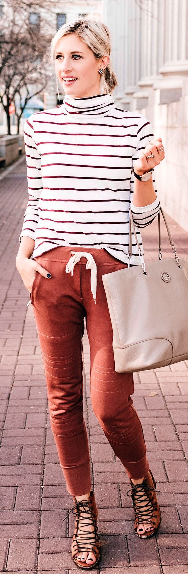 #winter #outfits white and brown striped long-sleeved shirt and brown jogger pants