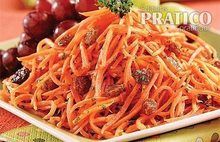Salade de carottes, miel et raisins
