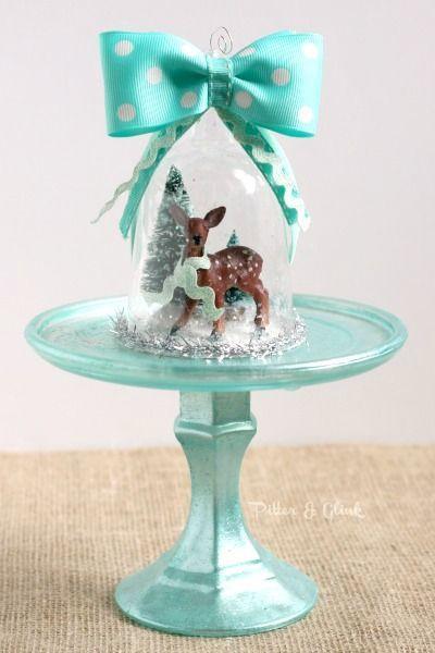 Make a beautiful vintage-inspired deer snow globe ornament from a dollar store plastic wine glass. pitterandglink.com #bloggerstrimatree #handmadechristmas #DIYornament