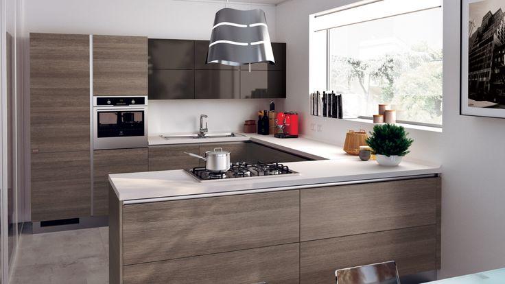 Evolution moderní kuchyňská linka v hnědém odstínu, design by Vuesse / modern kitchen