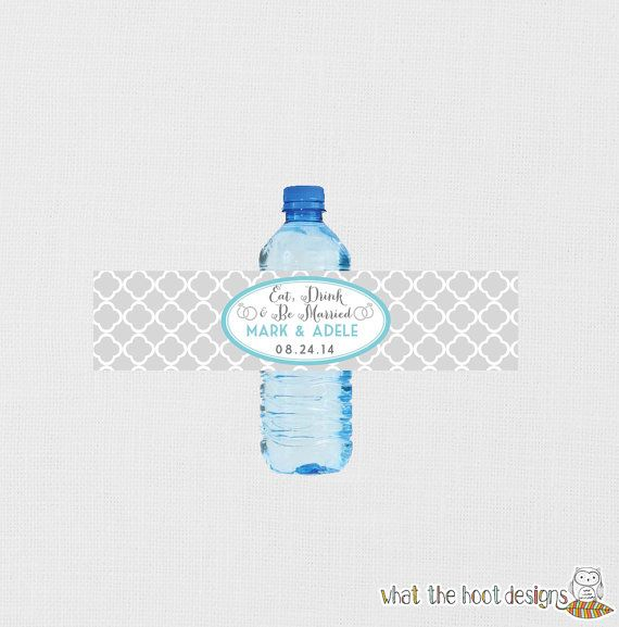 Wedding Water Bottle Labels Personalized by whatthehootdesigns