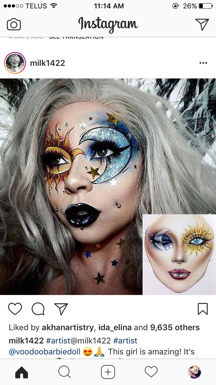 Lovely sun and moon eye make up
