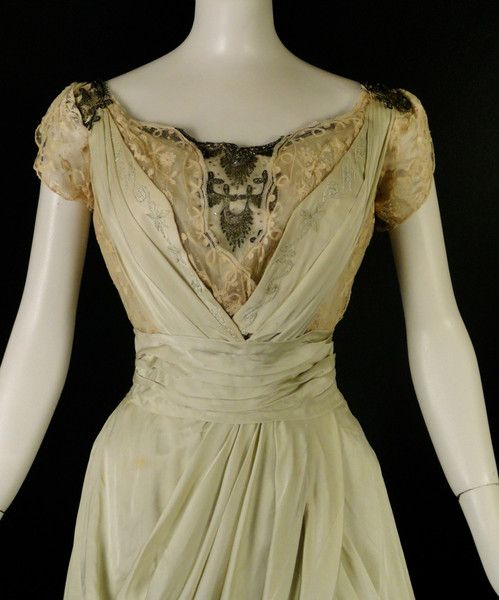 1910 Green Silk & Lace Evening Gown-NEW ITEM