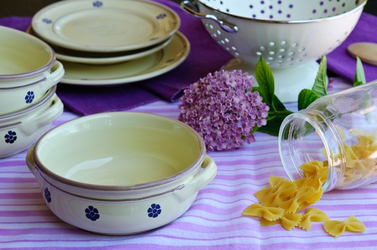 The Fiore hand-painted dinner set includes a soup & pasta bowl, a dinner plate and a side plate decorated using the same floral motif - €34.00 #MadeinItaly #handmade #italianstyle #ceramic   http://www.dishesonly.com/products/fiore-hand-painted-rustic-chic-dinner-set