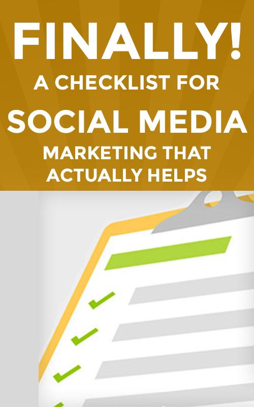 FINALLY! A Checklist for Social Media Marketing that Actually Helps. http://www.tradingprofits4u.com/