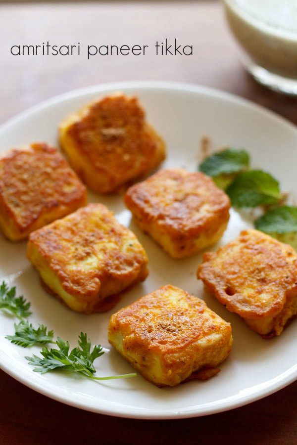 amritsari paneer tikka recipe - paneer cubes marinated in a mix of gram flour, herbs+spices and then shallow fried #paneer #snacks