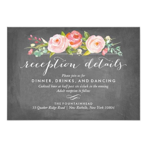 Rose Wedding Reception Garden Floral Card
