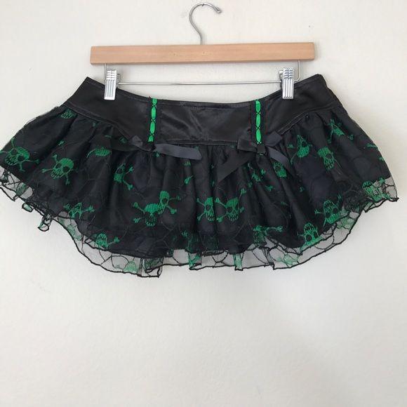 "LIP SERVICE Micro Mini's ""Skull & Bones"" mini skirt #83-246"
