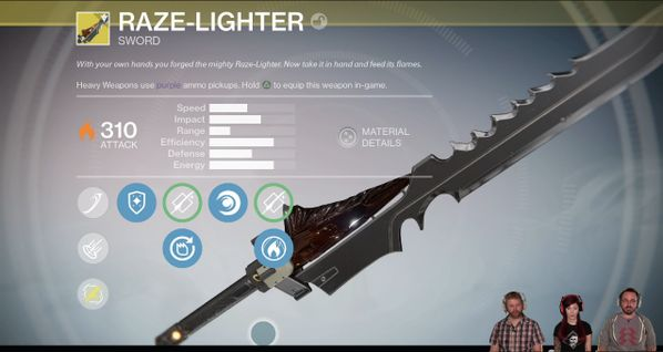 "The Exotic Sword called Raze-Lighter is a powerful melee weapon that does heavy solar damage in ""Destiny: The Taken King."""
