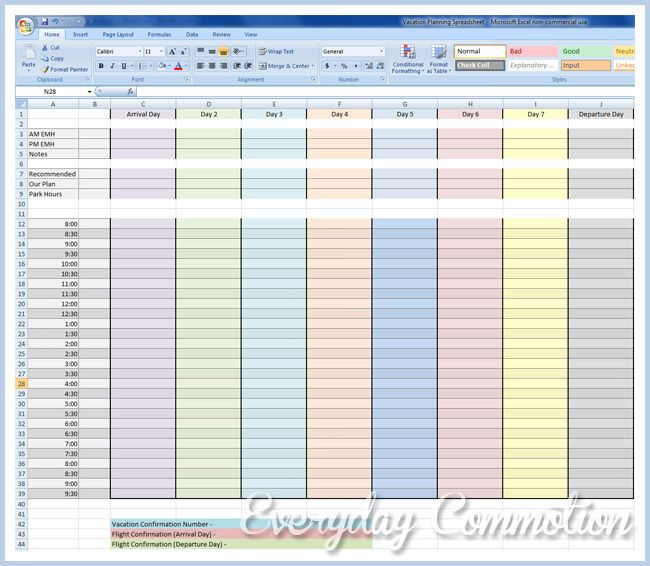 Free Walt Disney World Disneyland Planning Spreadsheet Reservations Family Kids Trip Walt